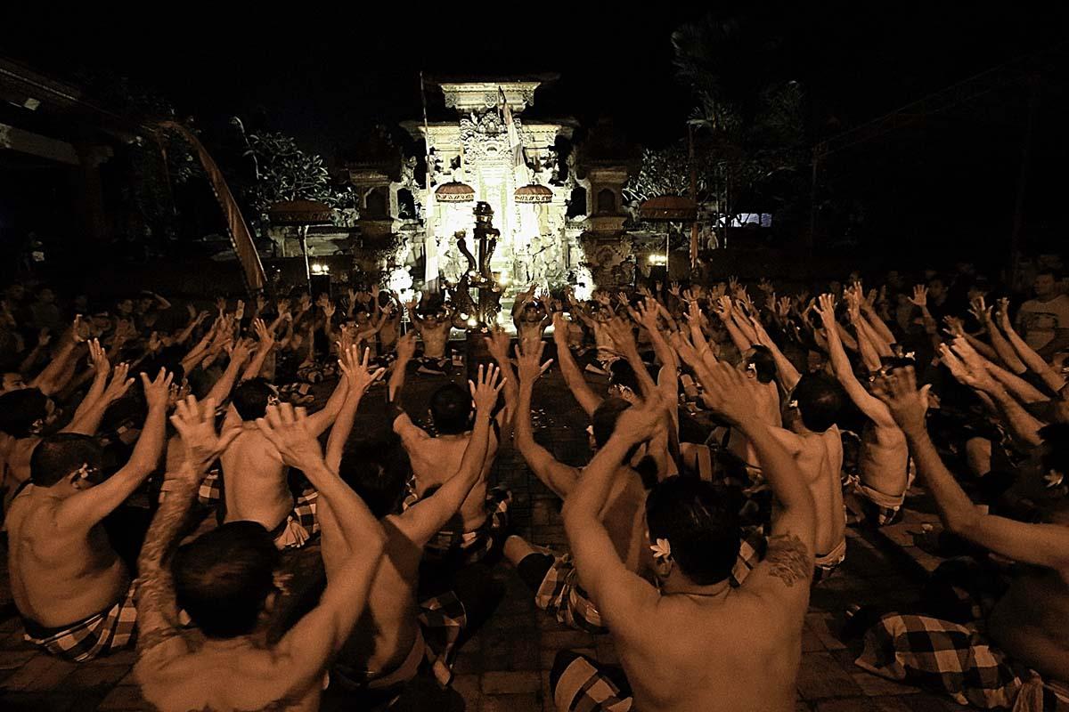 Group : Krama Desa Adat Taman KajaDay : Wednesday & Saturday / Time : 7:30pm / Venue : Pura Dalem Taman Kaja, Ubud      Kecak is a form of Balinese dance and music drama based on ancient Sanghyang