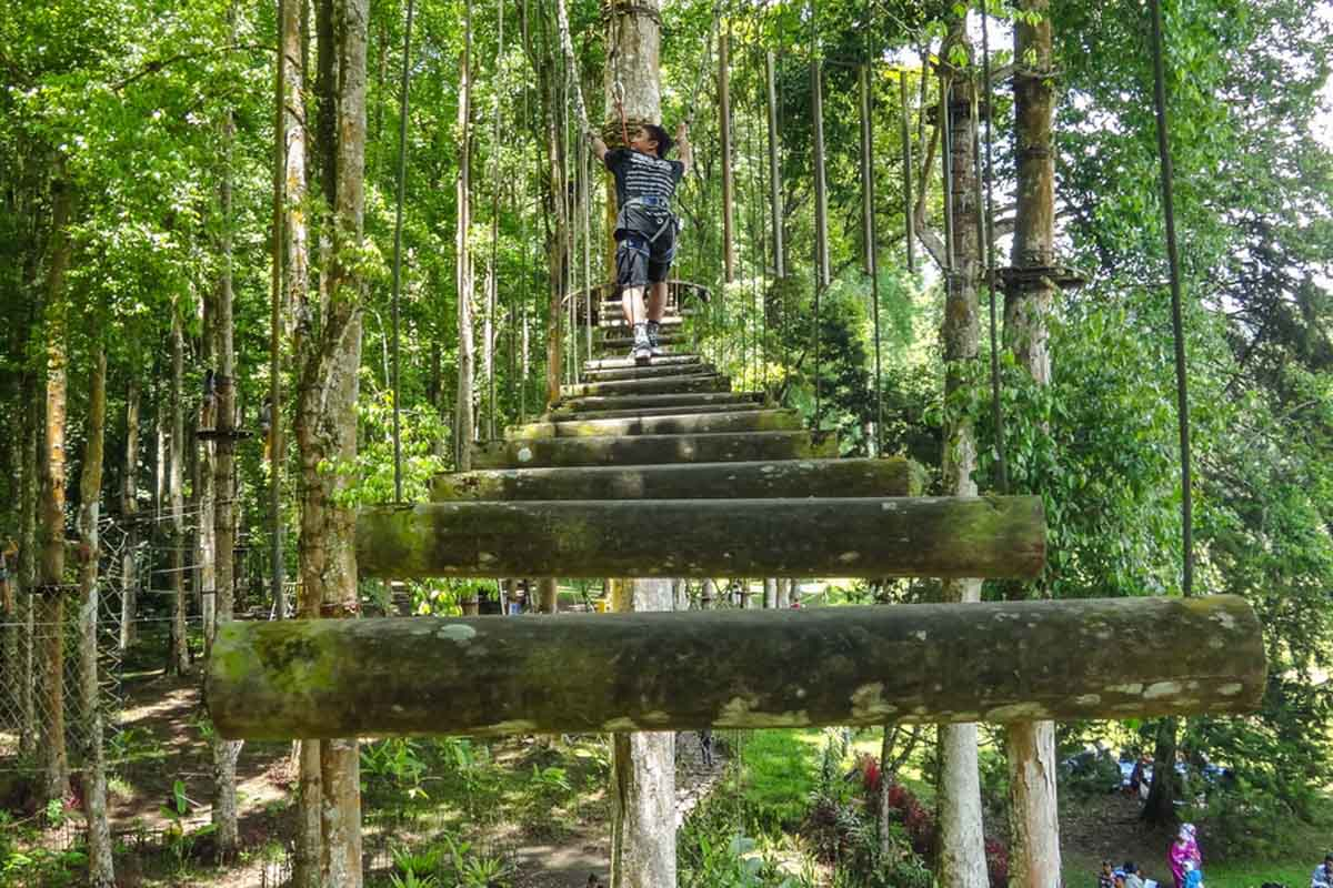 Set on the edges of Bali's little known but very lovely botanical gardens, this assault course is