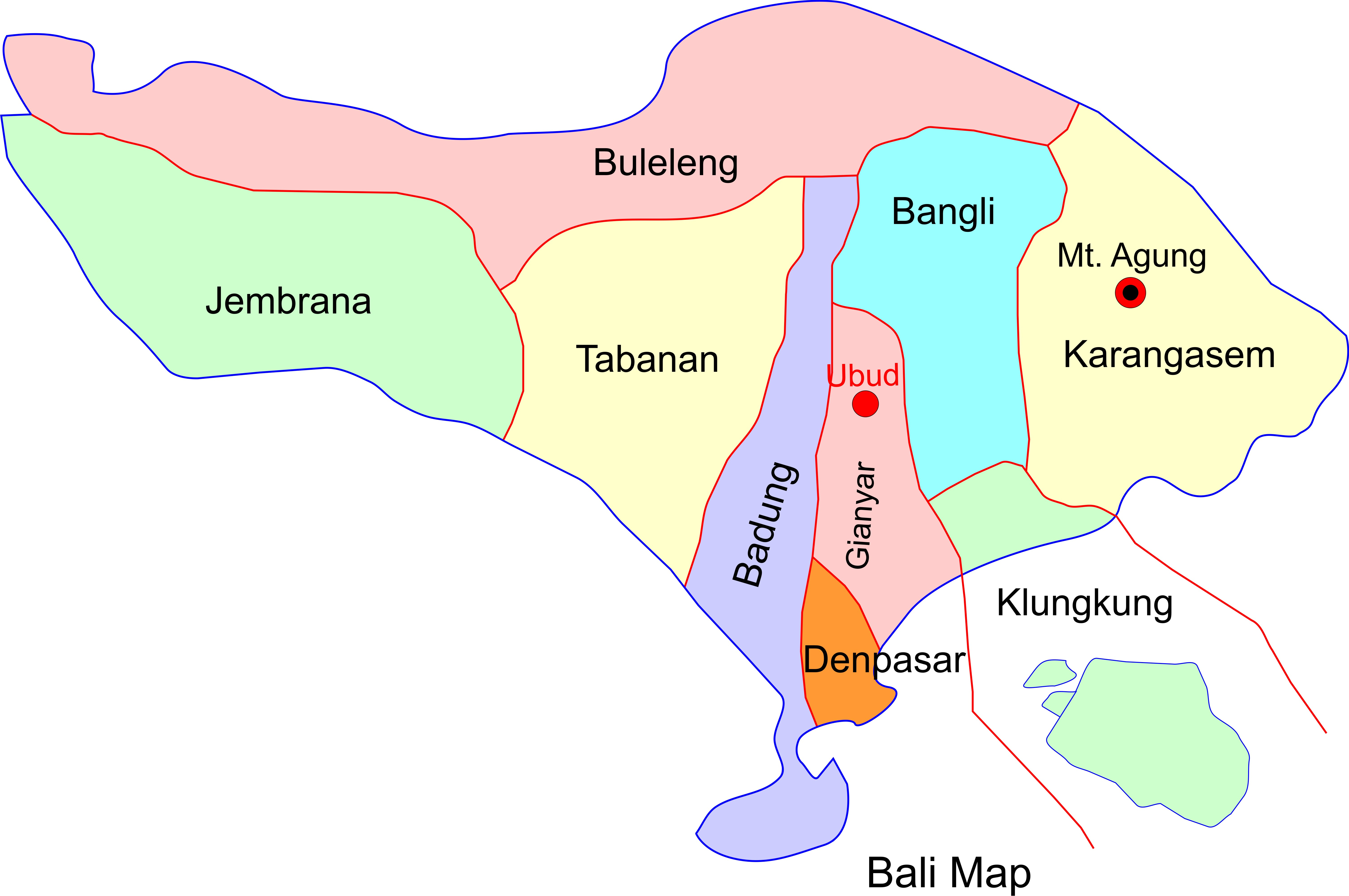 Fabulous ubud the best online tourism guide for ubud bali bali regency map gumiabroncs Gallery