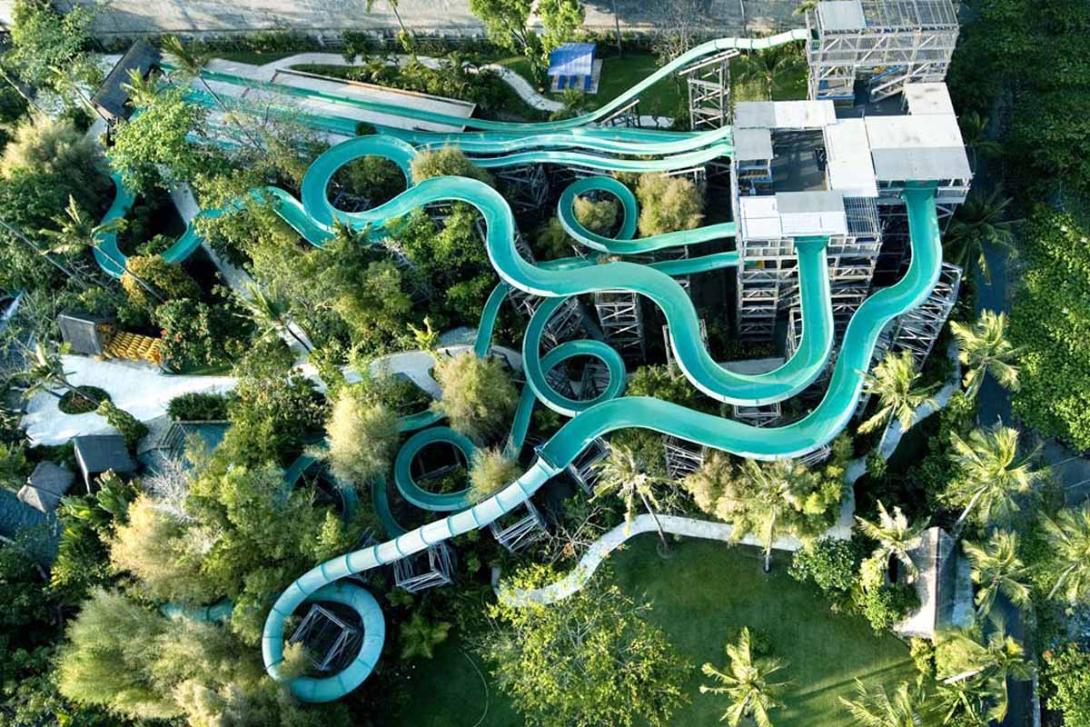 Not at all what you might imagine, WaterBom park swaps the usual gaudy leisure park styling for cl