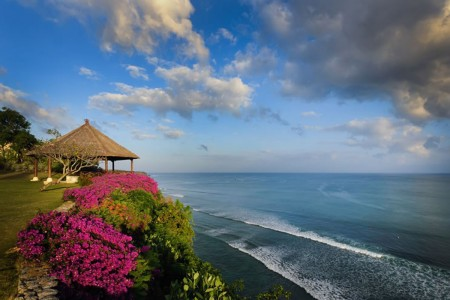 Perched high on the dramatic cliff tops of Bali's Bukit  Peninsula, the spectacular five-bedro