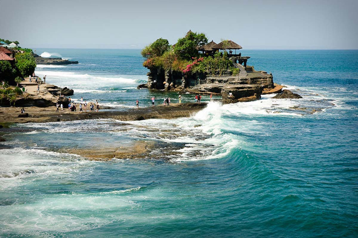 Quite likely Bali's most visited and photographed temple, the iconic Tanah Lot temple ('